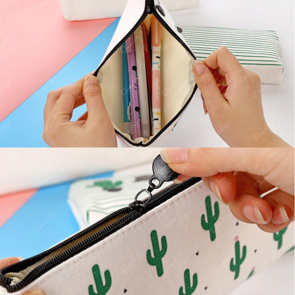 Travel Makeup Cosmetic Cactus Case Wash Organizer Storage Cartoon Pencil Case - AS THE PICTURE A