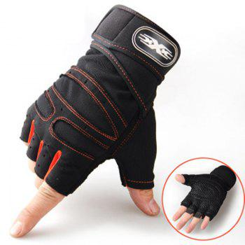 Wear-Resisting Training Men's Sports Fitness Half Refers To Outdoor Anti-Slip Gloves - ORANGE/BLACK ORANGE/BLACK