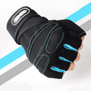 Wear-Resisting Training Men's Sports Fitness Half Refers To Outdoor Anti-Slip Gloves - LIGHT BLUE 19X16CM