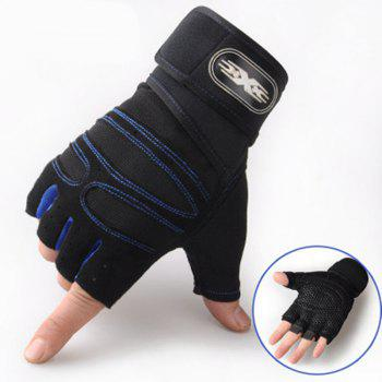 Wear-Resisting Training Men's Sports Fitness Half Refers To Outdoor Anti-Slip Gloves - CERULEAN CERULEAN