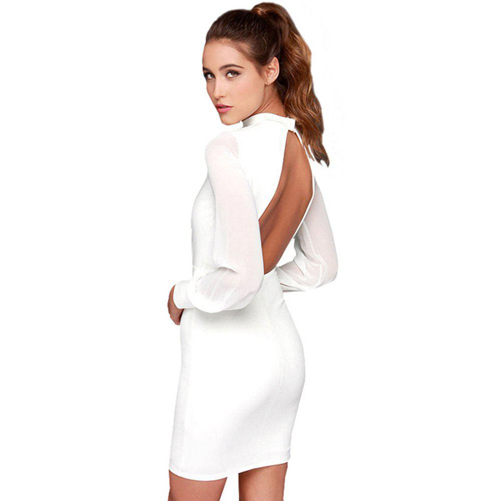 Sexy Backless Slip Summer Dress - WHITE M