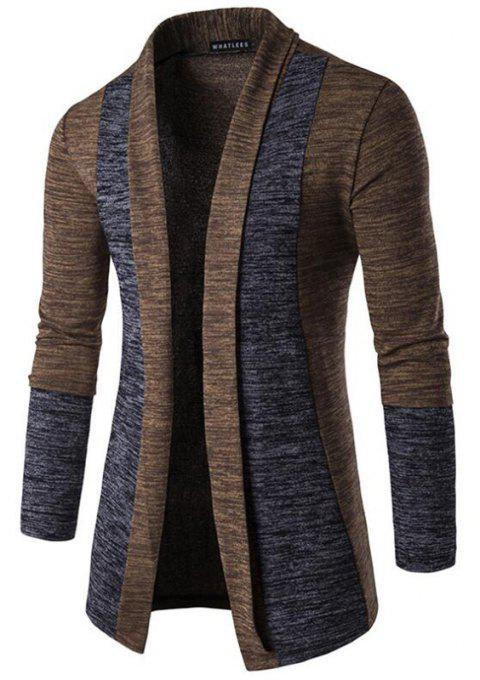Men's Sweater Cardigan Long Sleeve Fit Casual Knit Cardigan Coat - COFFEE COLOR 089 L