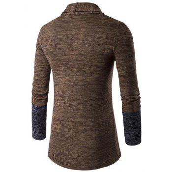 Men's Sweater Cardigan Long Sleeve Fit Casual Knit Cardigan Coat - COFFEE COLOR L