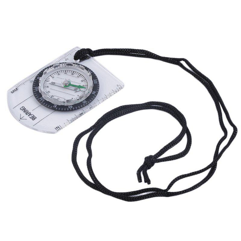 Mini Baseplate Compass Map Scale Ruler for Outdoor Camping Hiking - TRANSPARENT
