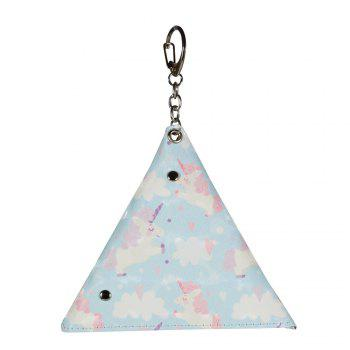 Universal Packet Handmade Mini Coin Small Triangle Headphones Cable Purse With Key Chain PU Leather Small Bag -  GREEN