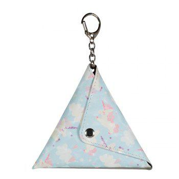 Universal Packet Handmade Mini Coin Small Triangle Headphones Cable Purse With Key Chain PU Leather Small Bag - GREEN GREEN