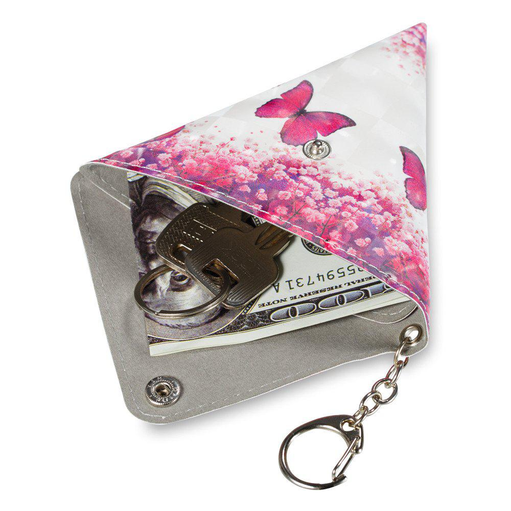 Universal Packet Headphones Cable Purse With Key Chain PU Leather Small Bag - PINK