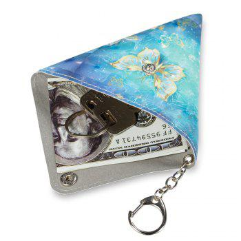 Universal Packet Cable Purse With Key Chain PU Leather Small Bag - BLUE