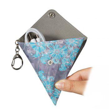 New Fashion PU Leather Flowers Small Wallet Purse Key Coin Bag - GRAY