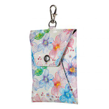New Fashion A Rectangle PU Leather Flowers Small Wallet Zero Purse Key Coin Bag - PINK PINK