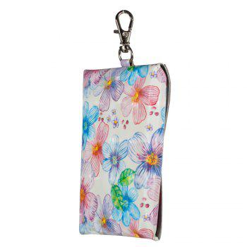 New Fashion A Rectangle PU Leather Flowers Small Wallet Zero Purse Key Coin Bag - PINK