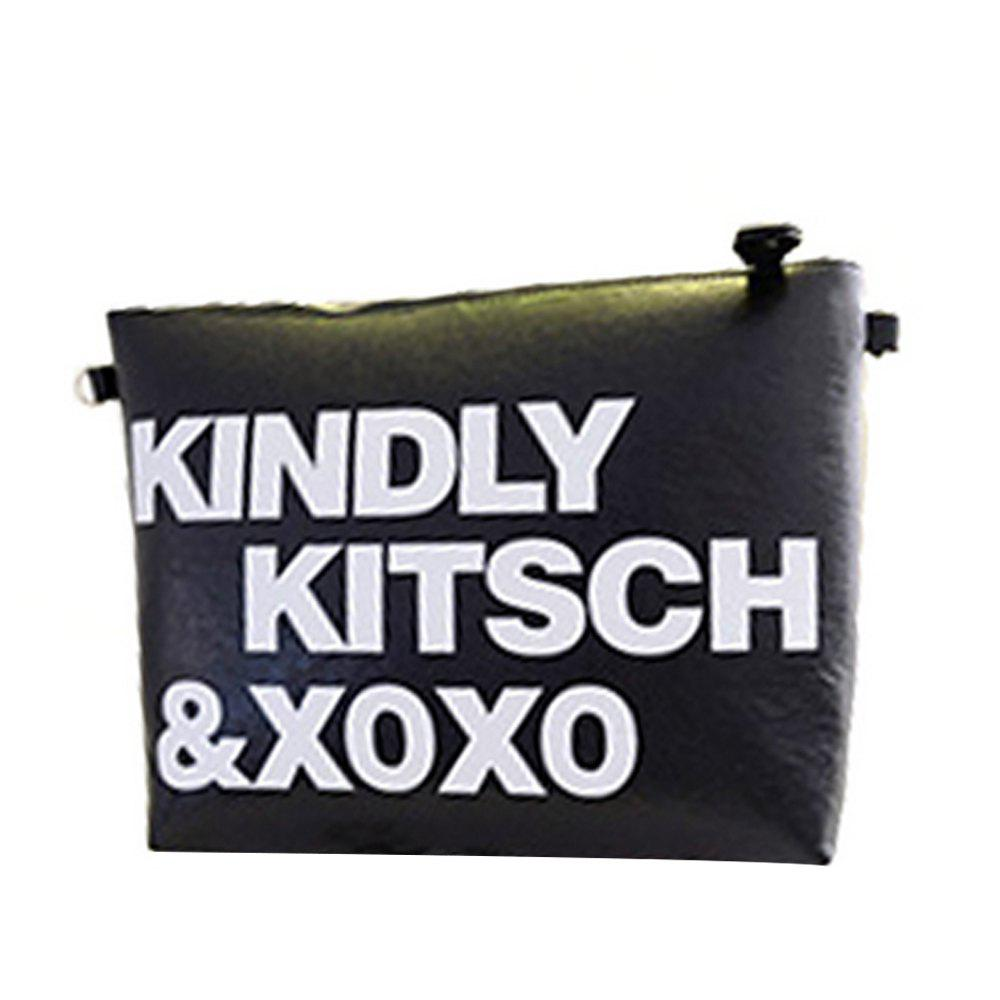 Women's Crossbody Bag Chic Letters Themed Unisex Bag - BLACK
