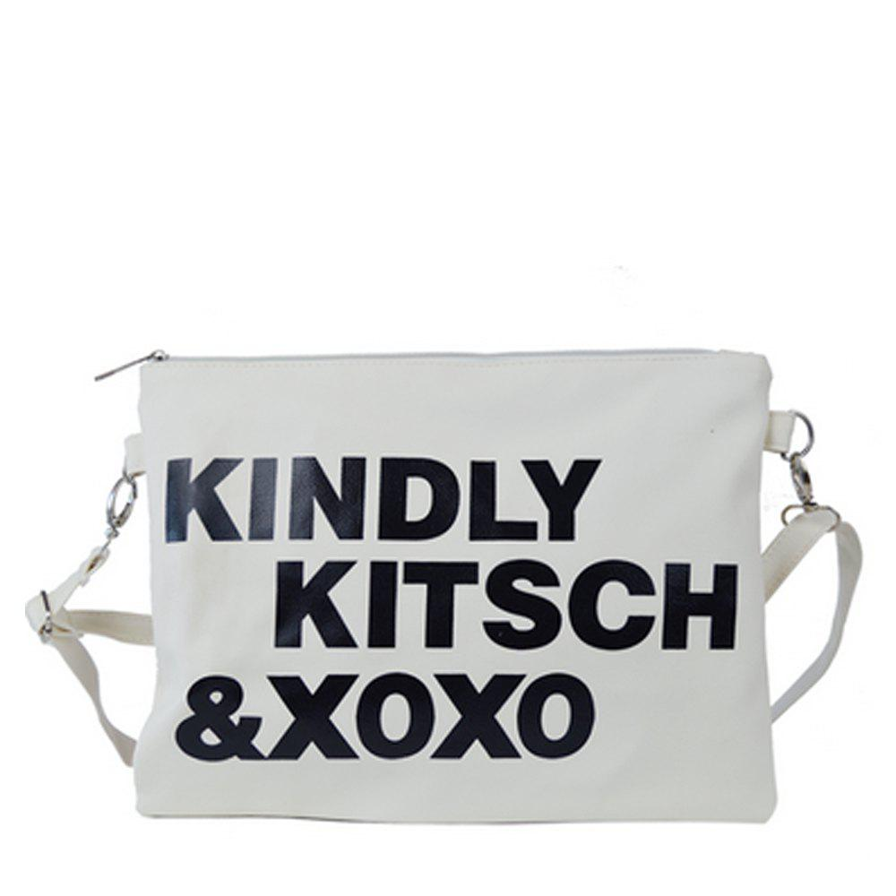 Women's Crossbody Bag Chic Letters Themed Unisex Bag - WHITE
