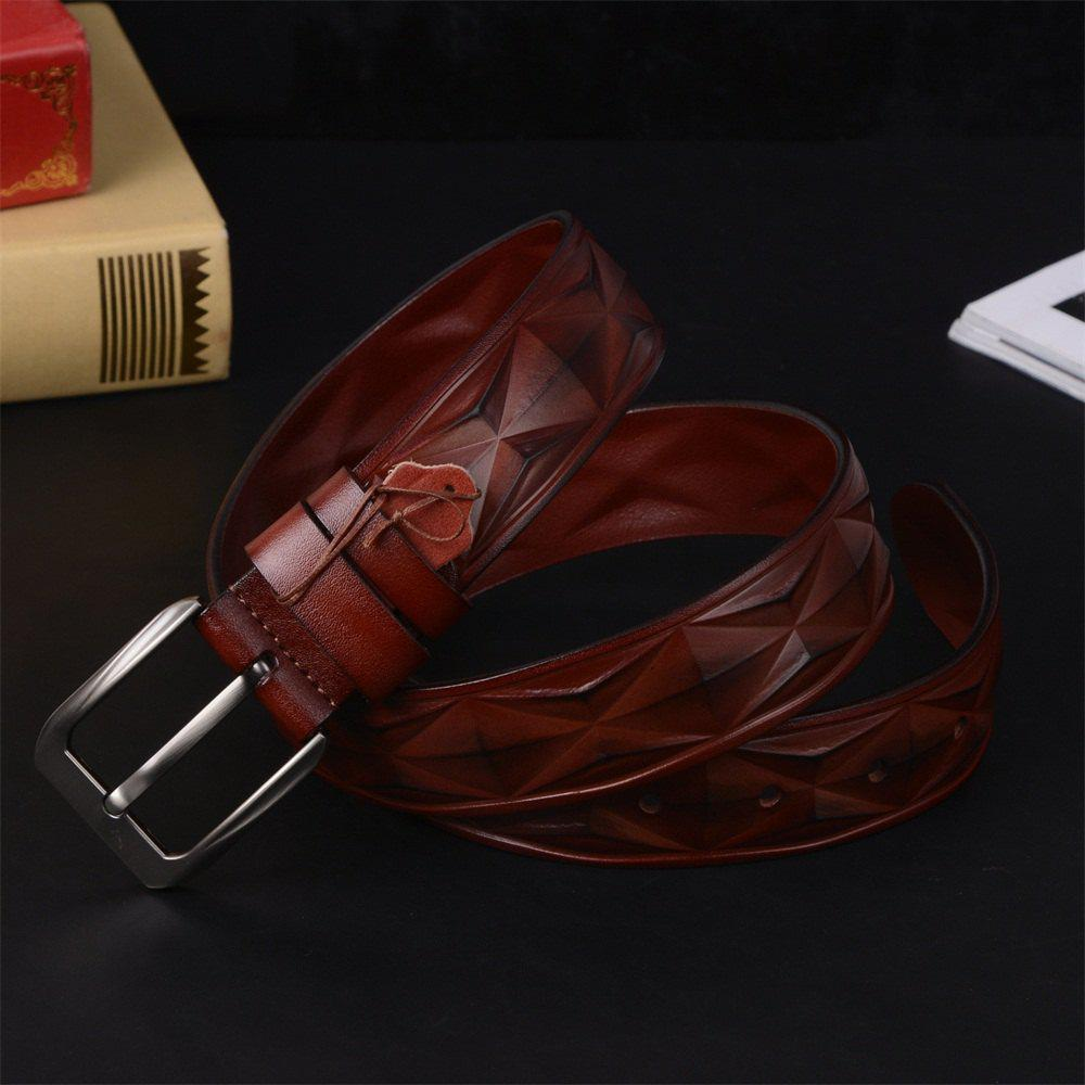 Men'S Steel Buckle Leather Belt - LIGHT COFFEE LEATHER BAND