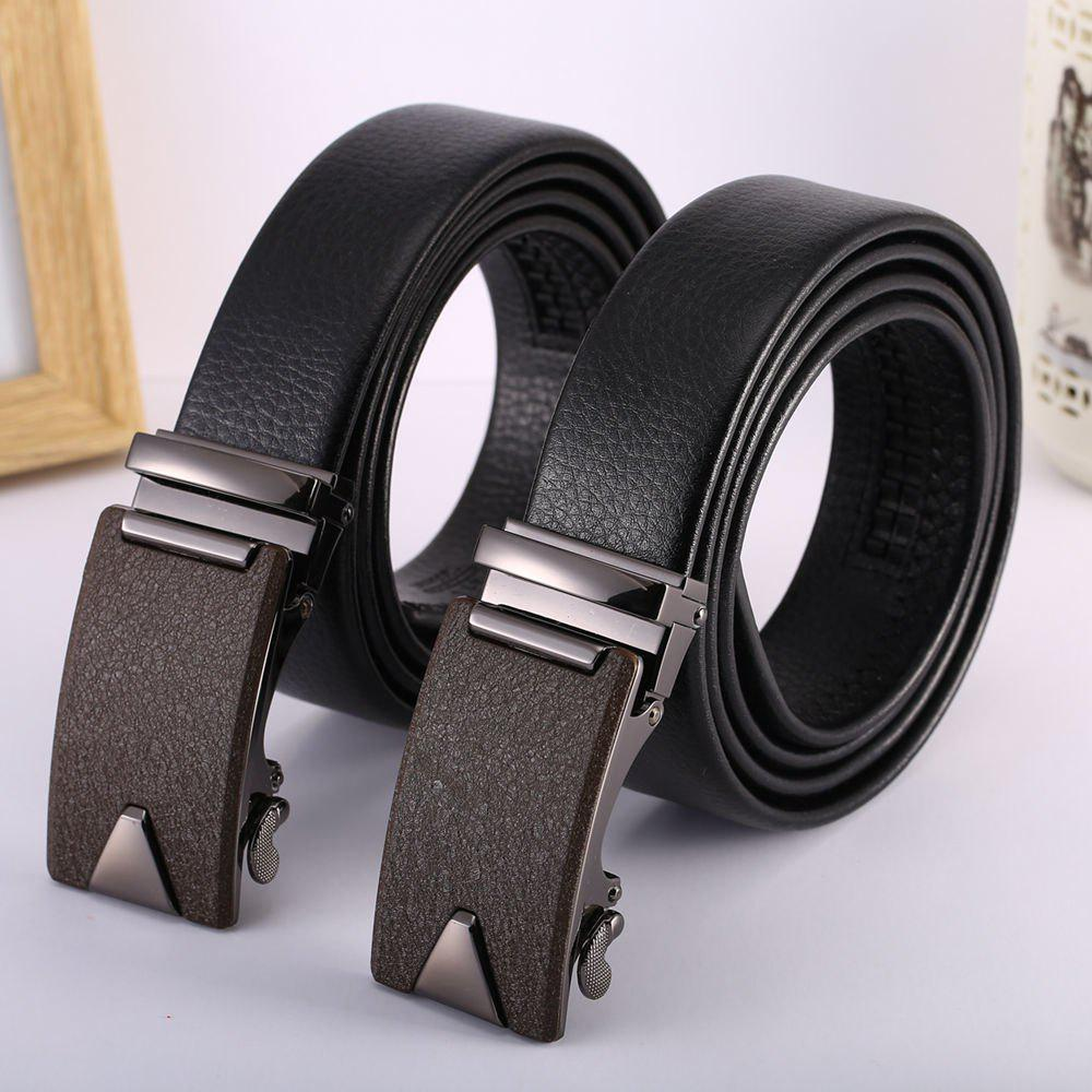 Men'S Geometry Steel Buckle Leather Belt - BLACK LEATHER BAND