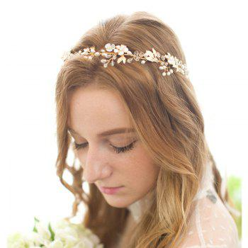Gold Leaf Vine Bridal Headpiece Boho Crystal Pearl Wedding Wreath Women -  GOLD