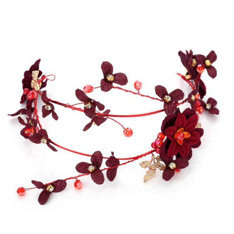 Red Rose Flower Fabric Headband Hair Jewelry for Women Wedding Party - RED
