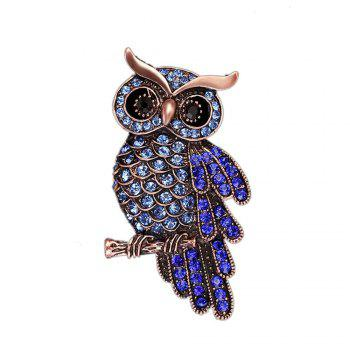 Women Girls Ornament Crystal Rhinestone Owl Brooch Pendants Fine Jewelry Gifts - BLUE BLUE