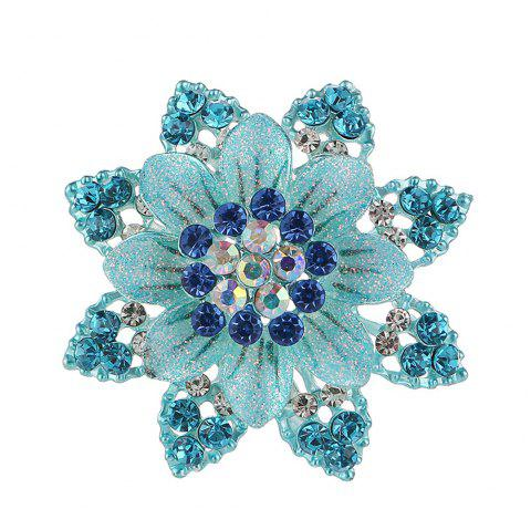 Women Girls Crystal Rhinestone Flower Pendant Brooch Fine Jewelry Gifts Ornament - BLUE