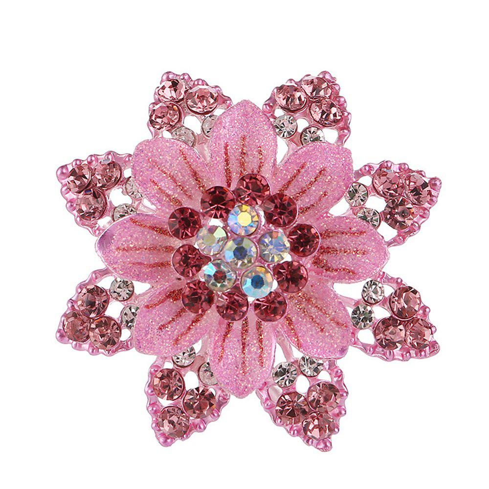 Women Girls Crystal Rhinestone Flower Pendant Brooch Fine Jewelry Gifts Ornament - PINK