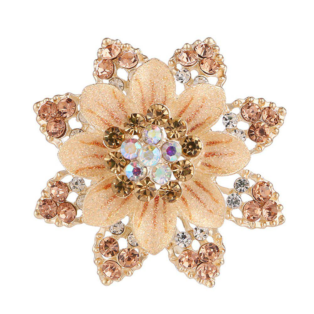 Women Girls Crystal Rhinestone Flower Pendant Brooch Fine Jewelry Gifts Ornament - CHAMPAGNE