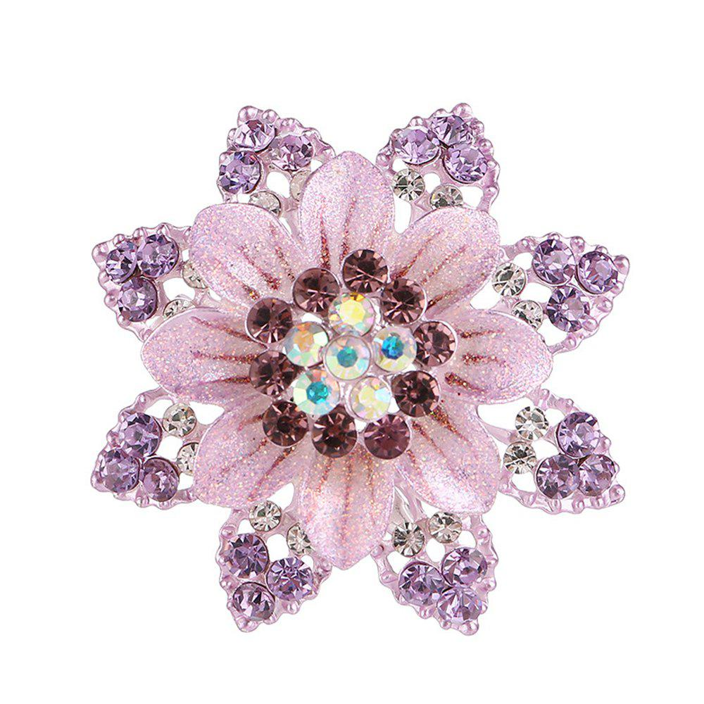 Women Girls Crystal Rhinestone Flower Pendant Brooch Fine Jewelry Gifts Ornament - PURPLE