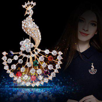 Women Girls Colorful Crystal Rhinestone Peacock Pendant Brooch Fine Jewelry Gifts Ornament - COLOR