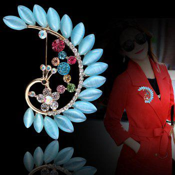 Women Girls Crystal Rhinestone Peacock Pendant Brooch Fine Jewelry Gifts Ornament - BLUE