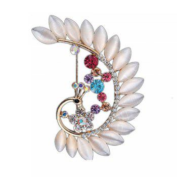 Women Girls Crystal Rhinestone Peacock Pendant Brooch Fine Jewelry Gifts Ornament - WHITE WHITE