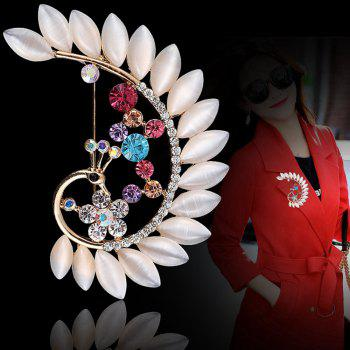Women Girls Crystal Rhinestone Peacock Pendant Brooch Fine Jewelry Gifts Ornament -  WHITE