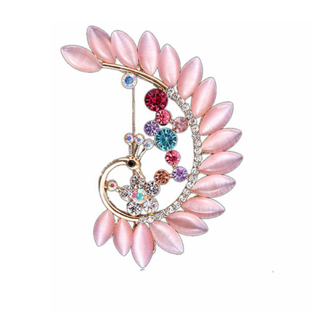 Women Girls Crystal Rhinestone Peacock Pendant Brooch Fine Jewelry Gifts Ornament - PINK