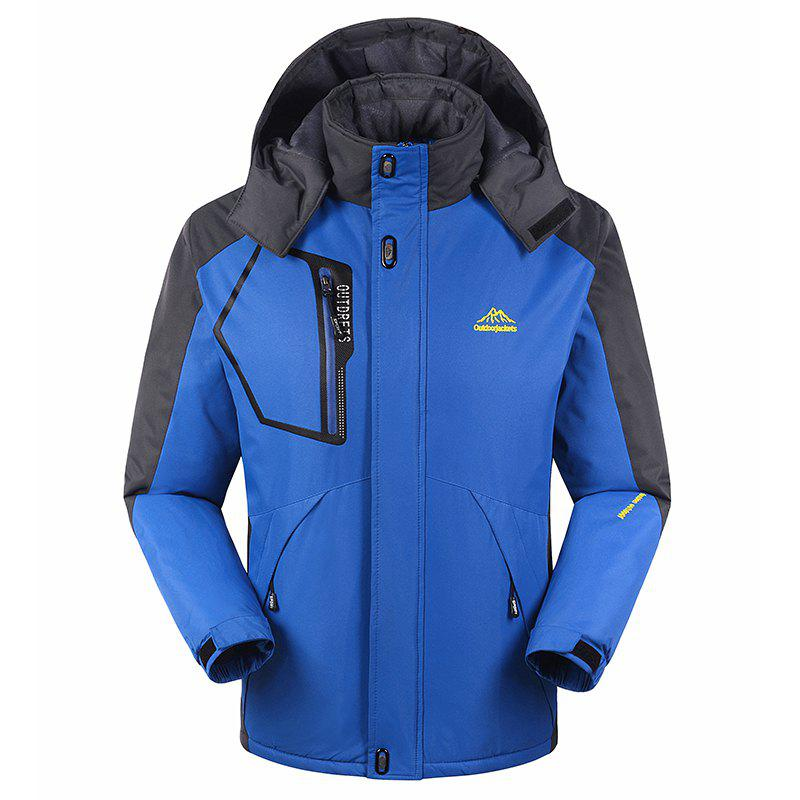 Slim Fashion Waterproof Windproof Men Warm Outdoor Jackets - BLUE 2XL