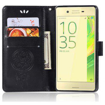 Owl Campanula Fashion Wallet Cover For Sony Xperia X Performance Case PU Flip Retro Leather Case Phone Bag With Stand - BLACK