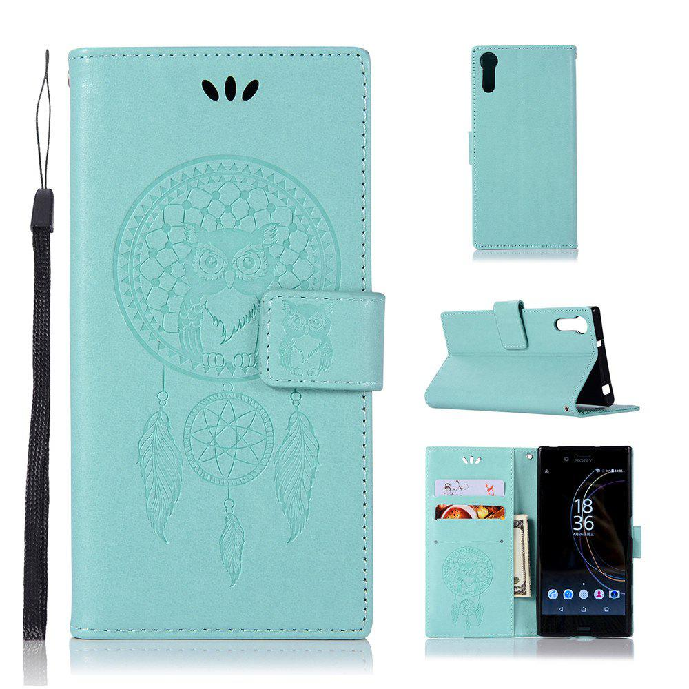 Owl Campanula Fashion Wallet Cover For Sony Xperia XZ / Sony XZs Case PU Flip Retro Leather Case Phone Bag With Stand - GREEN