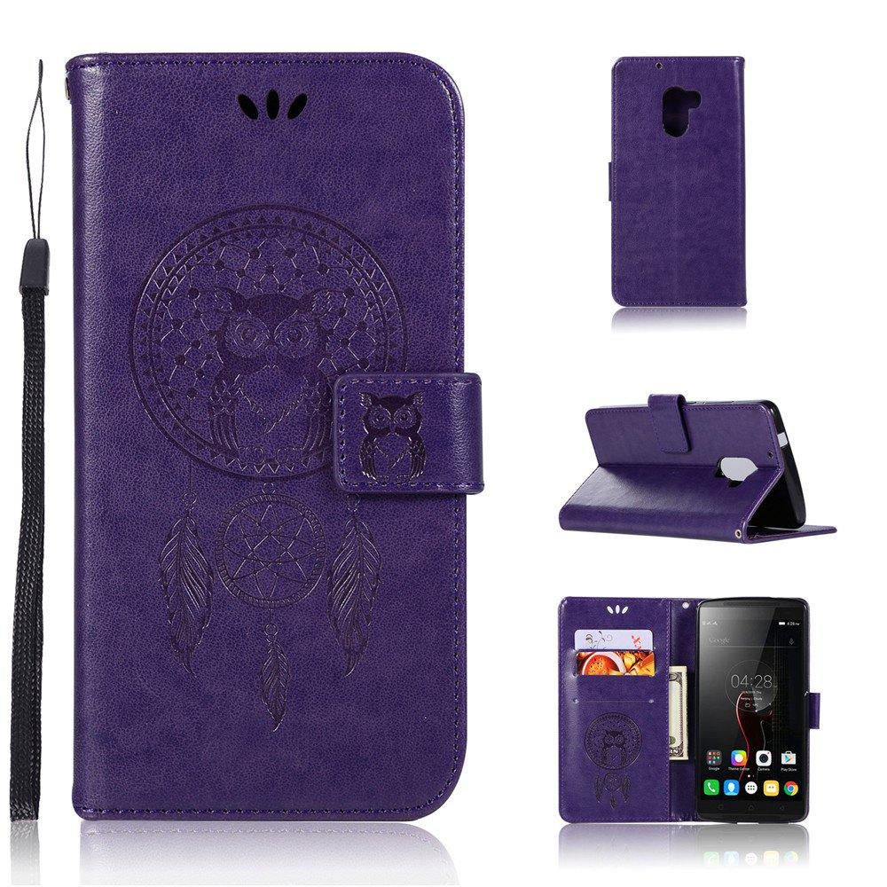 Owl Campanula Fashion Wallet Cover For Lenovo VIBE X3 Lite / K4 Note / A7010 PU Flip Leather Case Phone Bag With Stand - PURPLE