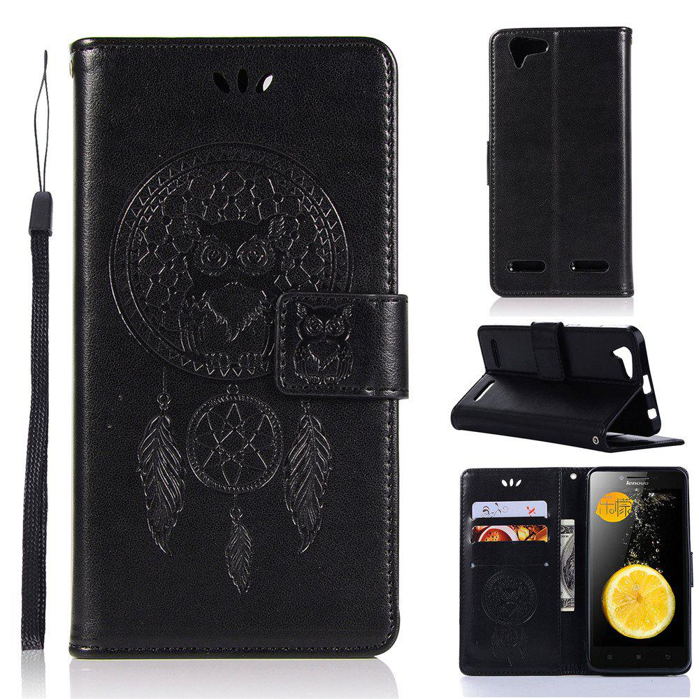 Owl Campanula Fashion Wallet Cover For Lenovo Vibe Lemon 3 / K5 Plus / A6020 / K5 PU Flip Leather Case Phone Bag With Stand - BLACK