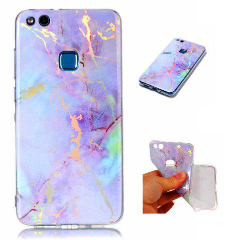Fashion Color Plated Marble Phone Case For Huawei P10 Lite Case Cover Luxurious Soft TPU Full 360 Protection Phone Bag - PINKISH PURPLE
