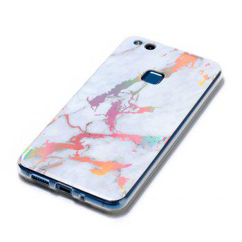 Fashion Color Plated Marble Phone Case For Huawei P10 Lite Case Cover Luxurious Soft TPU Full 360 Protection Phone Bag - WHITE