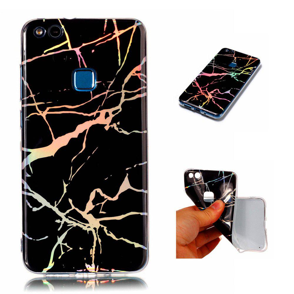 Fashion Color Plated Marble Phone Case For Huawei P10 Lite Case Cover Luxurious Soft TPU Full 360 Protection Phone Bag - BLACK
