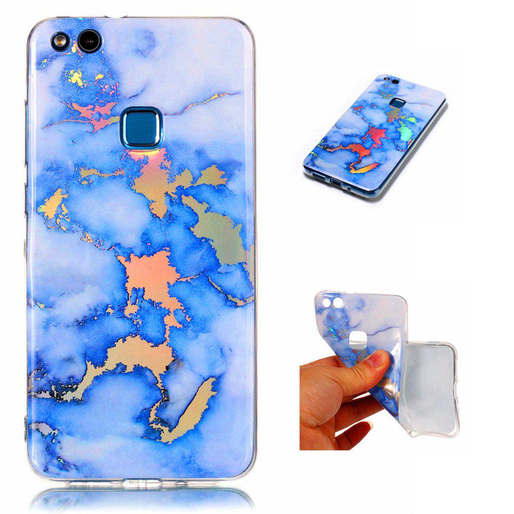 Fashion Color Plated Marble Phone Case For Huawei P10 Lite Case Cover Luxurious Soft TPU Full 360 Protection Phone Bag - BLUE
