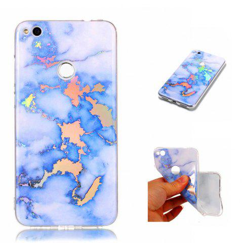 Fashion Color Plated Marble Phone Case For Huawei P8 Lite 2017 Case Cover Luxurious Soft TPU Full 360 Protection Case - BLUE
