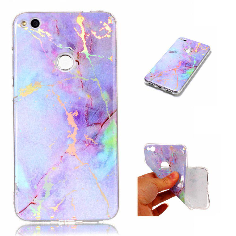 Fashion Color Plated Marble Phone Case For Huawei P8 Lite 2017 Case Cover Luxurious Soft TPU Full 360 Protection Case - PINKISH PURPLE