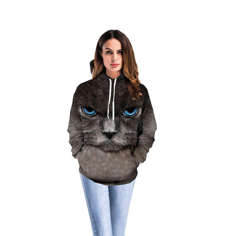 Women 3D Print Big Eyes Cat Hoodie - COLOUR XL