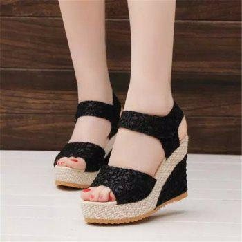 Fish Mouth Slope and Magic Stick Sandals - BLACK 39