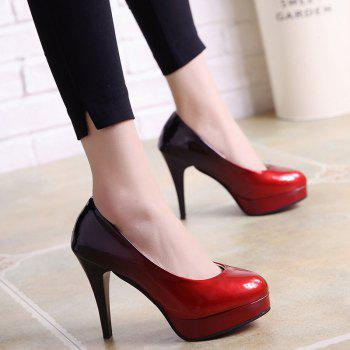 High Heel Round Head Single Shoes - RED 37