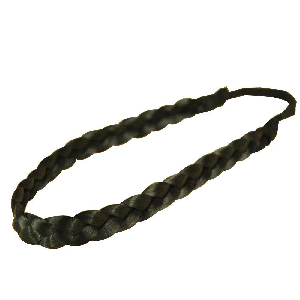 Vintage Wig Braided Hair Band Headband - BLACK