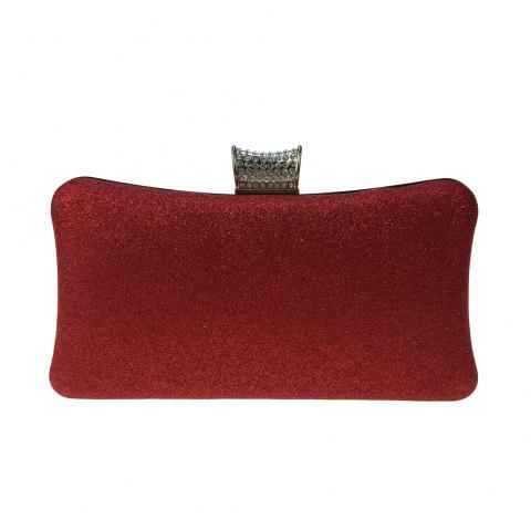 Women Bags Leatherette Evening Bag Buttons Crystal Detailing for Wedding Party - RED