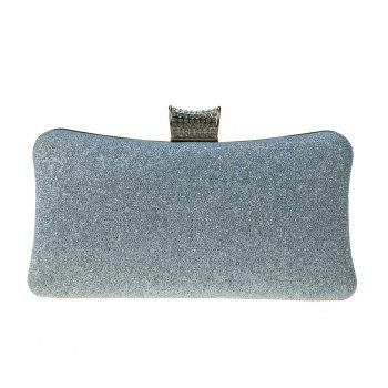 Women Bags Leatherette Evening Bag Buttons Crystal Detailing for Wedding Party - SILVER SILVER