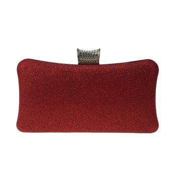 Women Bags Leatherette Evening Bag Buttons Crystal Detailing for Wedding Party - RED RED