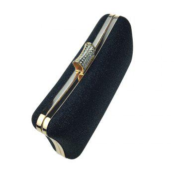 Women Bags Leatherette Evening Bag Buttons Crystal Detailing for Wedding Party - BLACK